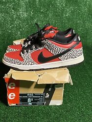 Ds Nike Dunk Sb Low Premium Supreme Fire Red Cement Box Damaged Size 8.5