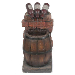 Resin Wine Bottle And Barrel Outdoor Cascade Fountain With Led Lights