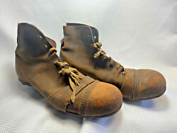 Antique Vintage Brown Leather 6 Stud High Top Football Soccer Rugby Cleats