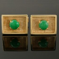 Solid 14k Yellow Gold And Round Green Jade Cabochon Estate Toggle Cufflinks
