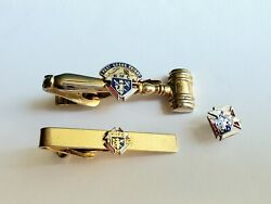 Vtg Knights Of Columbus Past Grand Knight Gavel Enamel Lapel Pin And Tie Clips Lot
