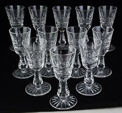12 Waterford Made In Ireland Vintage Crystal Glass Kylemore Cut Cordials - Super