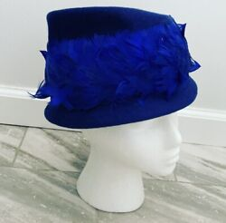 Vintage Womenandrsquos Cerulean Blue Feathered J.l. Hudson Co. Hat + Box Easter Pillbox