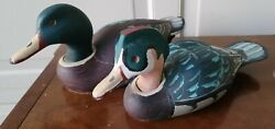 2 Vintage Wooden Duck Hunting Decoys Solid Body Handcraft Painted