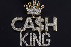 10k Solid Yellow Gold And Diamond 3.50 Ct Cash King Crown Pendant Charm W/ Chain