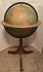 Antique Weber Costello 18andrdquo Floor Globe On Carved Base W/ Bronze Lions Feet Rare