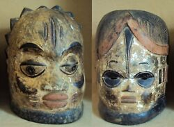 2pcs Igbo Polychrome Headdresses Ibo Ijo African Carving Extremely Rare