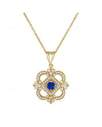 Tresorra 18k Yellow Gold Diamond 0.5ct And Sapphire Necklace 190-yg-bs