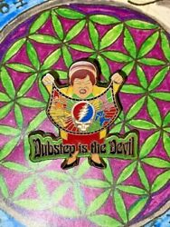 Dubstep Is The Devil Deadhead Quilt Lady Heady Hat Pin Steal Your Face Rare Pins