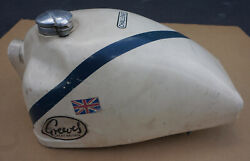 Rare Vintage Greeves Challenger Motorcycle Gas Fuel Tank Great Britain Uk White