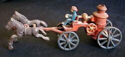 Vintage 1920and039s Cast Iron Horse Drawn Fire Engine.