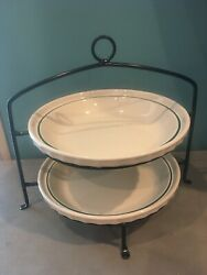 """2 Longaberger Woven Traditions Pie Plates Heritage Green 10 1/4"""" With Stand Exc"""