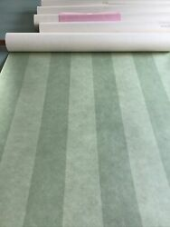 Cowtan And Tout Vintage Regency Period Style Green Striped Wallpaper-5 Rolls