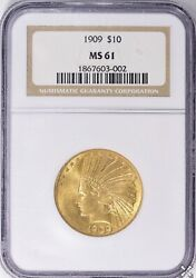 1909 P 10 Gold Indian Head Eagle Ngc Ms 61