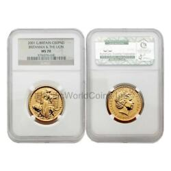 Great Britain 2001 Britannia Una And The Lion 50 Pounds Gold Ngc Ms70 Sku2895