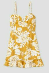X Small Women#x27;s Junior#x27;s Floral Print Sleeveless Ruffle Cup Dress Wild Fable $14.30