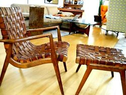 Mel Smilow Woven Leather Club Chair And Ottoman Walnut 1956 Lounge Chair