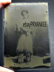Antique Native American Indian Girl With Doll Glass Negative / Unpublished Photo