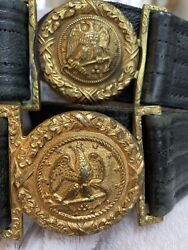 Antique U.s. Military Navy Leather Belts With Brass Belt Buckles.