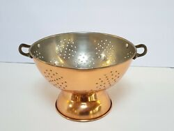 Vtg Copper Strainer Rustic Country Kitchen Decor Sieve Cottagecore Solid 8 3/4