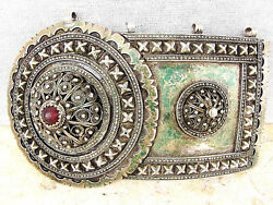 Russian Caucasus Antique Glass Filigree Silver One Part Of Buckle 202gr.19 Cen