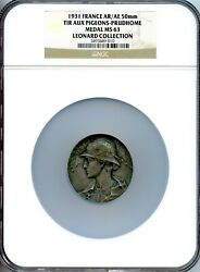 1931 France Silver Award Medal By Georges-henri Prudand039homme 50mm Ngc Ms63