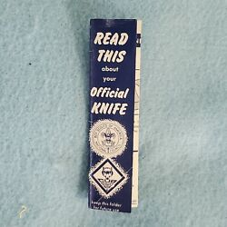 Vintage Boy Scouts Of America Boy Scout / Cub Scout Official Knife Instructions