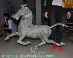 39huge Rare Antique Old Chinese Pure Bronze Ware Horse Tread Fly Swallow Statue