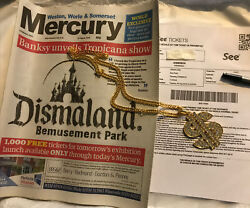 Banksy Dismaland Paper Gold Dollar Tone Pendant And Ticket Un Signed Mint