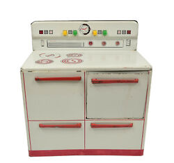 Vintage 1950's Wolverine Tin Lithograph Toy Stove Oven Range Kitchen Red White