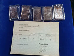 🌟5 Vintage Credit Suisse 1 Oz .999 Silver Bars Sequential Serial S W/ Coa