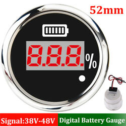 52mm Car Boat Battery Charge Level Indicator 0-100 W/ Red Led Display W/ Alarm