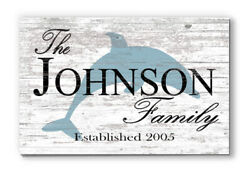 Personalized Beach Family Name Sign Rustic Dolphin Décor For Beach House $44.99