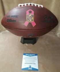 Christian Mccaffrey Signed Panthers Nfl Game Used Breast Cancer Football W/coa