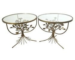 Italian Tole Floral Bouquet Side Table Set Of 2 Gold Hollywood Regency Glass