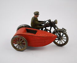 Antique 1900-30 Tin Toy Cast Iron Motorcycle With Sidecar