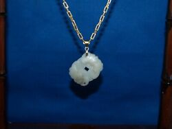 Antique Chinese White Jade Pendant 19th Century Money And Bats For Happiness