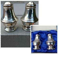Rare 2 Sets Elegant English Silver Pepper And Salt Shakers Hallmarked Boxed 4 Pce
