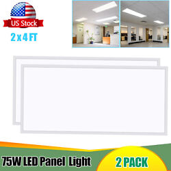 2-40pack Led Ceiling Panel2x4ft75wdimmable 0-10v7800 Lm Flat Backlit Fixture