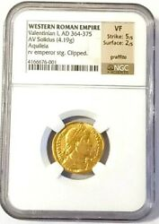 Western Roman Valentinian I Av Solidus Gold Coin 364-375 Ad - Ngc Certified