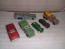 Vintage Rubber And Die-cast Toy Vehicles Cars Trucks Bus Jeep Tin Friction