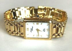 14k Yellow Solid Gold Ladies Women's Watch By Micheal Anthony Bracelet