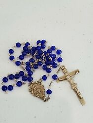 Vintage Antique Sterling Silver Rosary W/ Blue Crystal Beads Beautiful Italy