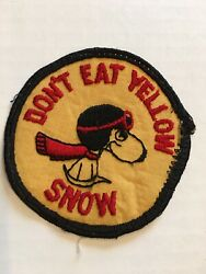 Vintage Late 1960s PEANUTS Snoopy Patch Don't Eat Yellow Snow Baron Dog Round