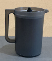 Tupperware Classic 2 Qt Round Pitcher W/ Push Button-in Black Color-new