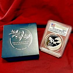 2020 End Of Wwii 75th Anniversary Medal Pcgs Pr-70 Dcam First Strike With Ogp