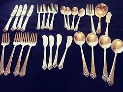 Oneida Damask Rose Heirloom Sterling Silverware Service For 4 - 30 Pieces