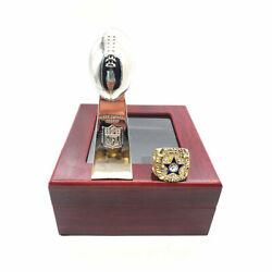 1971 Ring Dallas Cowboys Championship Ring Set And Trophy Set With Box Hot