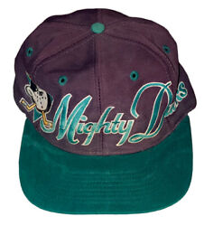 Vintage 90's Nhl Mighty Ducks Of Anaheim Snapback Hat Cap The Game Logo And Letter
