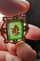 Rare Antique Jade Pendant In A Silver Frame Plated With Gold.